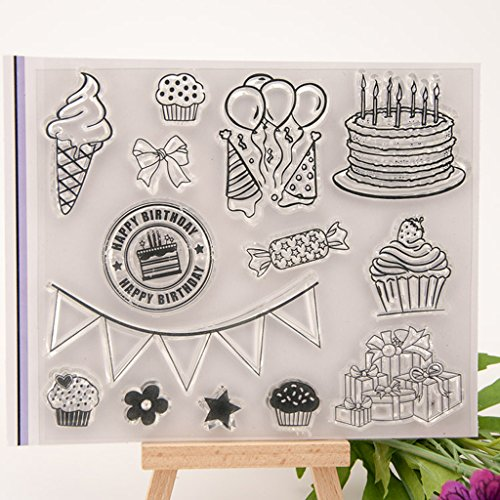 Happy Birthday Scrapbooking - Mimgo Happy Birthday Clear Transparent Stamp DIY Crafts Silicone Rubber Scrapbooking