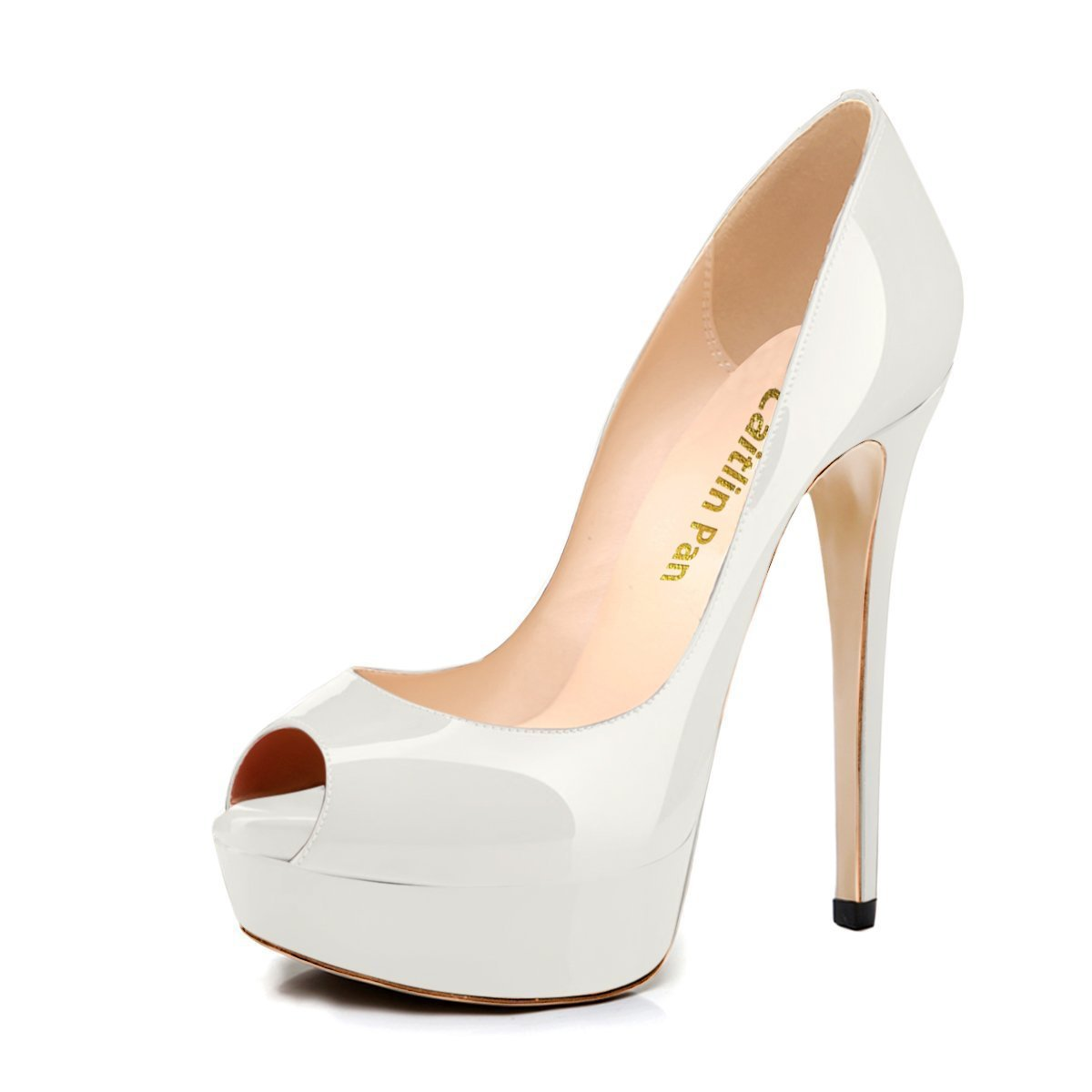 Caitlin Pan Womens Peep Toe Pumps Platform Stiletto Sandals High Heels Slip On Dress Pumps 5-14 US B07FCJMC8P 5 M US|White/Red B0tt0m