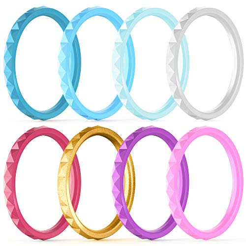 (ThunderFit Thin and Stackable Silicone Rings, 8 Pack - Silicone Wedding Bands for Women - Diamond Pattern (Flag Blue, Blue, Light Blue, White, Flag Red, Rose Pink, Light Pink, Gold, 8.5-9 (18.9mm)))