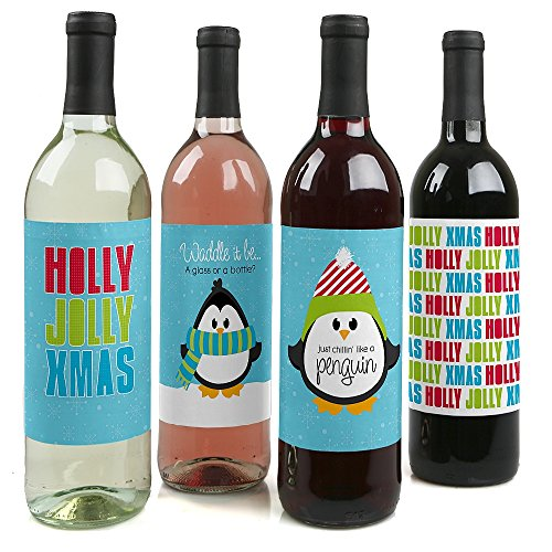 Holly Jolly Penguin Holiday Bottle