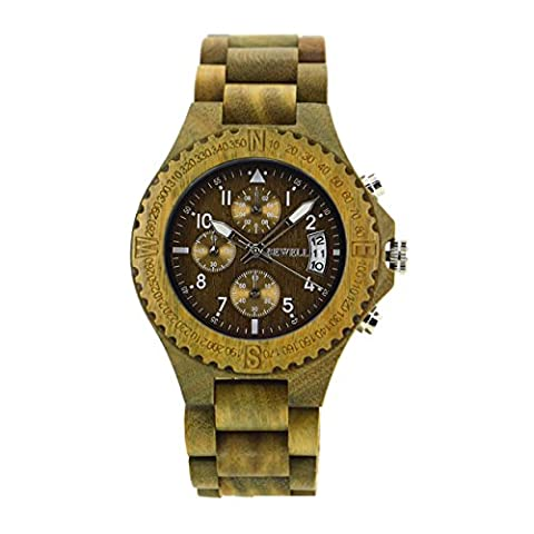Bewell Multi-Function Vera Wood Watch Mens Chronograph Date Luminous Pointers Wristwatch W115A (30mm Watch Face Protector)