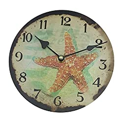 Small Starfish Wall Clock, Coastal Design, 8 Diameter