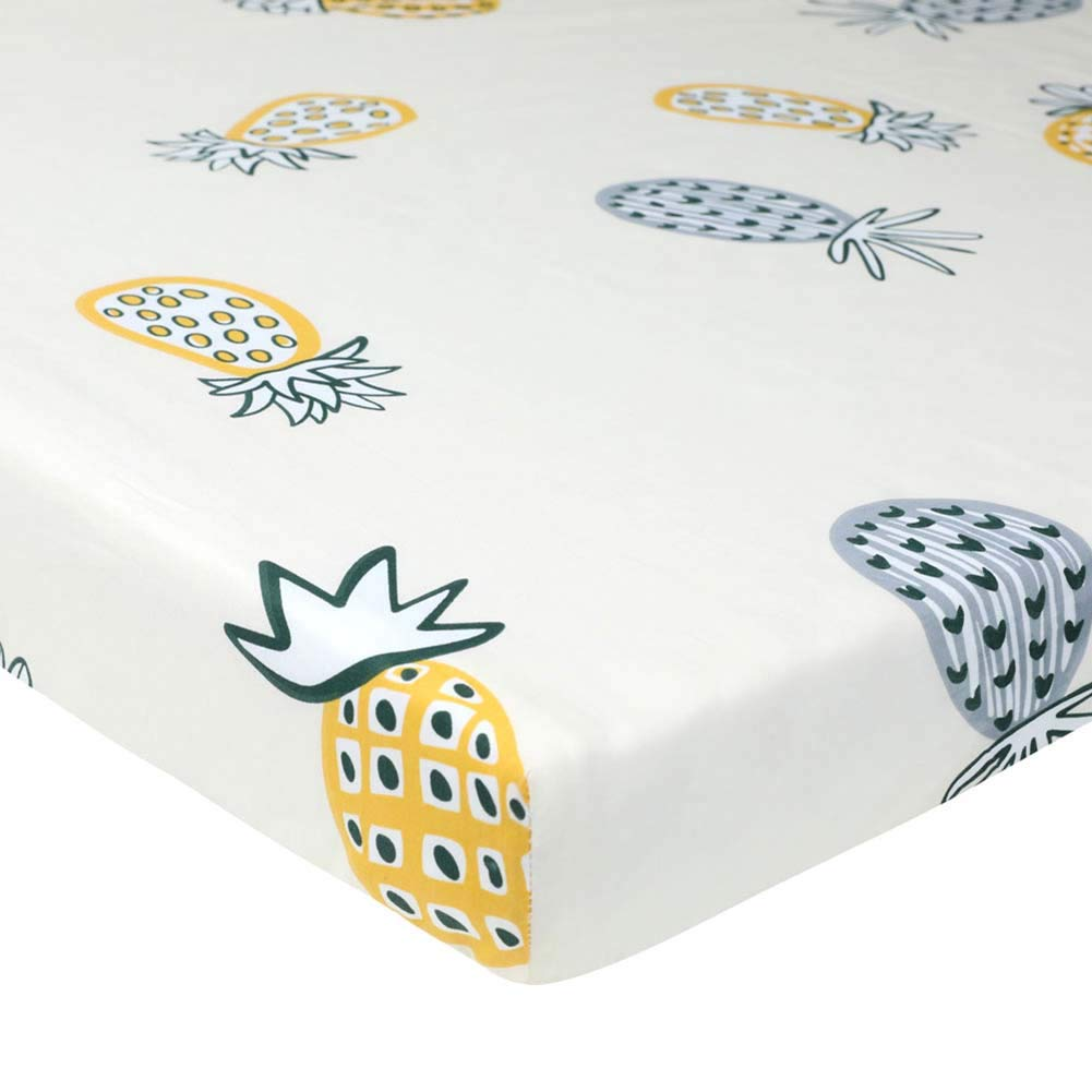 "Udolove Cotton Crib Sheet Stretchy Crib Sheets for Boys Girls,Universal Knit Fitted for Standard Baby Toddler Mattress Protector - Crib Mattress Covers 52""x28"" (Pineapple)"