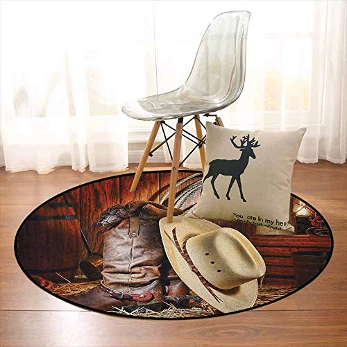 Western Multifunctional Round Carpet Authentic American West Rodeo Elements with Antique Supplies Retro Artwork Photo for Bedroom Modern Home Decor D39.7 Inch Brown Beige