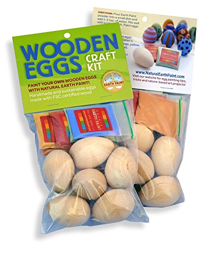 EARTH PAINTS Wooden Egg Craft Kit, 6 -