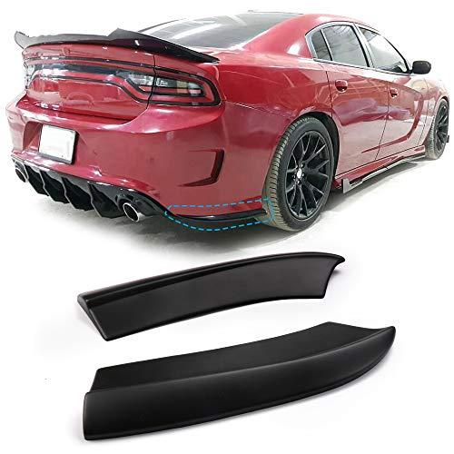 Rear Bumper Lip Aprons Fits 2015-2019 Dodge Charger   PP Polypropylene Matte Black Valences Spats Apron Splitter Diffuser Canard by IKON MOTORSPORTS ()