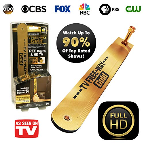 BulbHead Official As Seen on TV TV Free-Way Gold-TV Antenna with Gold Connectors for Signal Transfer-Free Digital & HD Broadcast Television for Free