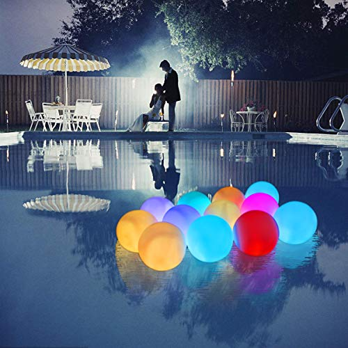 UNIQLED 6 Packs LED Floating Mood Lights Battery Operated 3 inch Color Changing Pool Balls with Remote Controller Waterproof LED Balls Garden Decor Bath Toys for Indoor Outdoor Decoration