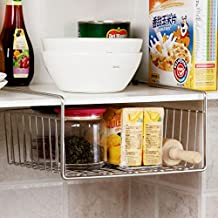 Stainless steel hanging basket under office desks refrigerator racks storage basket shelf in the kitchen finishing