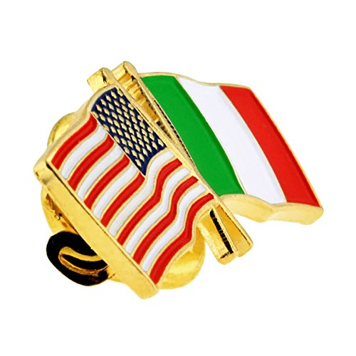 PinMart's USA and Italy Crossed Friendship Flag Enamel Lapel Pin by PinMart (Image #1)