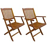 Eucalyptus Wood Folding Chairs Festnight Set of 2 Outdoor Folding Dining Chairs with Armrest Eucalyptus Wood Patio Chair Garden Backyard Poolside Furniture