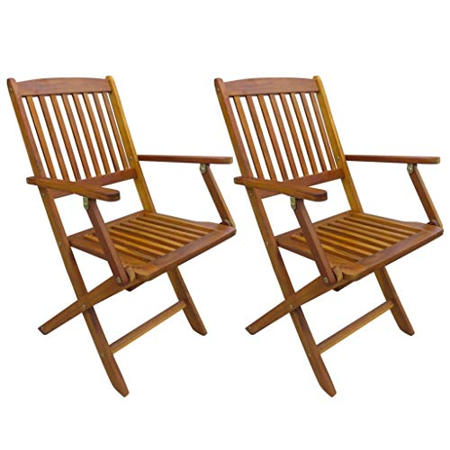 JDRONE Set of 2 Outdoor Folding Dining Chairs with Armrest Eucalyptus Wood Patio Chair Garden Backyard Furniture 20.1″ x 22″ x 35.8″