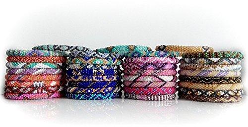 Wigspedia WHOLESALE 1 DOZEN (12 BRACELETS) RANDOM MIX OF Nepal Glass Beaded Bracelets