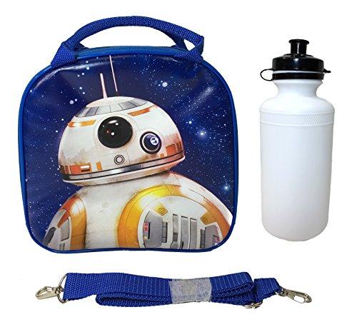 (Disney Star Wars Blue Bb-8 Lunch Bag with Water Bottle & Adjustable Shoulder Strap)