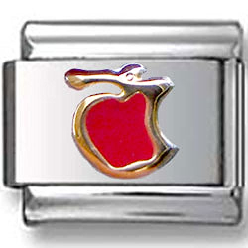 Red Apple With Bite Italian Charm