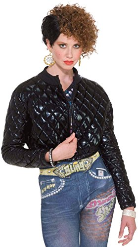 Forum Novelties Women's Hip Hop Costume Quilted Jacket, Black, (Rapper Costume Women)