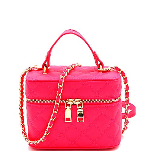 (Mini Top-Handle Retro Box Flap PU Leather Satchel Crossbody Neon (Quilted Box - Neon-Pink))