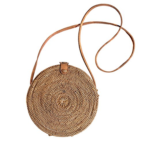 Round Rattan Basket Handbag Bohemian Trendy Handwoven ATA Straw Circle Bali Crossbody Shoulder Bag US SELLER! FAST SHIPPING! (Circle Tan)
