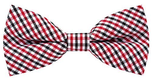 Carahere Handmade Boy's Plaid Bow Ties M015 Red &White& Black (Polyester Plaid Tie Red)