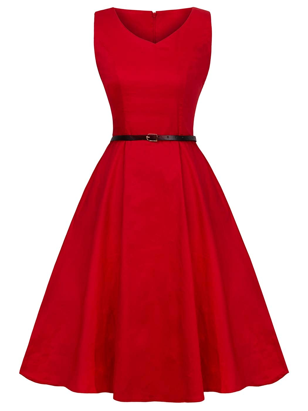 Womens V-Neck Sleeveless Vintage Swing Teal Dress Belt YL001