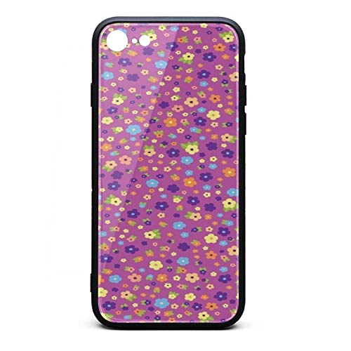Bumper Coverlet - Pink and Purple Flowers Novelty iPhone 8 Case,iPhone 7 Case Shock-Absorption Flexible Soft Rubber TPU Bumper/Anti-Finger/Anti-Scratch/Phone Case for iPhone 8 Case/iPhone 7 Case