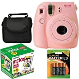 Fujifilm Instax Mini 8 Instant Film Camera (Pink) With Fujifilm Instax Mini 5 Pack Instant Film (50 Shots) + Compact Bag Case + Batteries Top Kit - International Version (No Warranty)