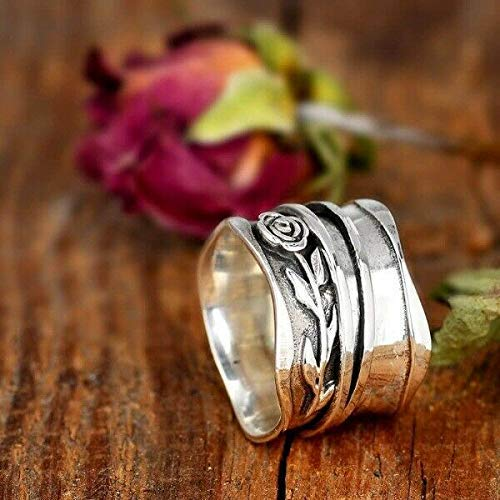 Yoga meditation Ring Two Tone Band Handmade Ring For Girl Women Jewellery US Size 6 7 8 9 10 11 12 Spin Spinner Ring