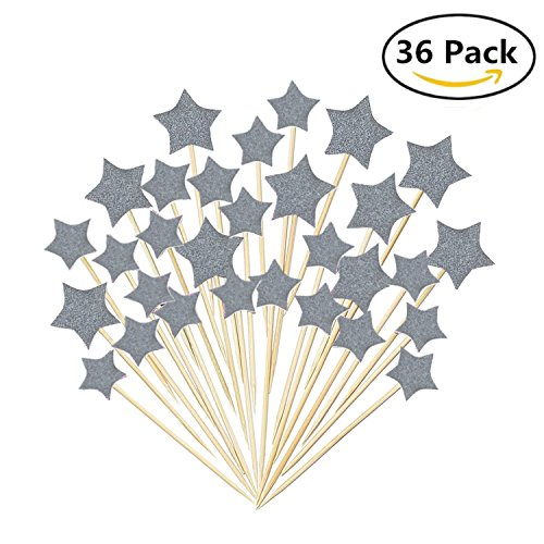 Twinkle Silver Star Cupcake Toppers Sticks Mini Birthday Cake Snack Decorations Bamboo Fruit Cocktail Forks Party Finger Food Picks set of 36pcs - Fairy Toothpicks