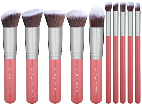 BS-MALL New Premium Synthetic Kabuki Makeup Brush Set Cosmetics Foundation Blending Blush Eyeliner Face Powder Brush Makeup Brush Kit (pink ()