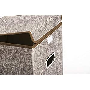 Set of 2 Linen Fabric Collapsible Storage Bins Cubes, Cloth Organizer Basket Box Cubes Containers for Closet Shelves Nursery Cabinet (Brown,13″x 13″x 13″)