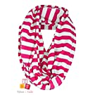 Breastfeeding Cover Infinity Nursing Scarf - Pink / White Stripe Pattern - Many Colors and Patterns of Breastfeeding Scarves - Tykes & Tails Baby Nursing Cover / Breastfeeding Scarf