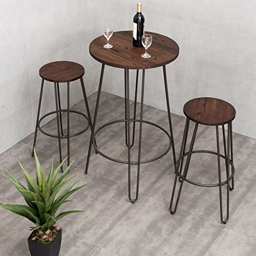 GentleShower 3 Piece Wood Round Bar Table Set 42″ Pub Table with 30″ Height Bar Bist ...