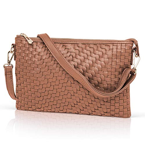 Coffee Crossbody Bag for Women - Woven Faux Leather Clutch Purse Wristlet