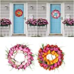 LEEaccessory-Tulip-Wreath-for-Front-Door-Pink-Artificial-Flower-Wreath-with-Green-Leaves-for-Window-Wall-Wedding-Party-Valentines-Day-Xmas-Hanging-Decor-Useful