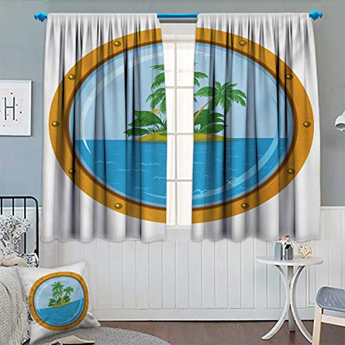 Island,Blackout Curtain,Graphic of Tropic Island View from The Bronze Ship Window with Palm Trees,Patterned Drape for Glass Door,Blue Green Orange,W52 x L63 inch