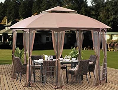 Patio Gazebo, Metal Gazebo, Pergolas And Gazebos,11 Ft. W x 13 Ft. D Permanent Gazebo With Mosquito Netting-Enjoy Your Personal Shaded Oasis
