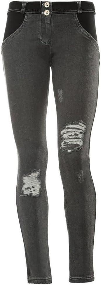 Freddy Damen Wrup Hose Jeans Nero-cuciture Grigie
