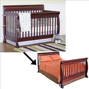 davinci kalani 4 in 1 convertible crib set w full twin size bed rail in cherry. Black Bedroom Furniture Sets. Home Design Ideas