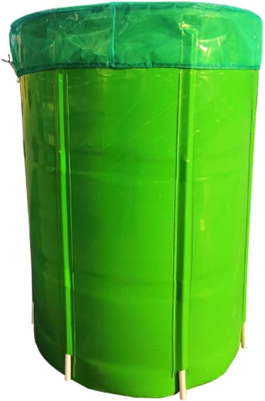 RIOBOW Collapsible Rain Barrels Open Foldable Raintrap Diverter Sturdy PVC Garden Hydroponics with Filter Mesh Rain Water Collection Storage Tank for Garden Plant Watering (100L, Green)