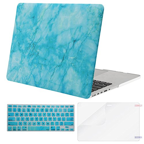 MOSISO Plastic Pattern Hard Case Only Compatible MacBook Pro (W/O USB-C) Retina 13 Inch (A1502/A1425)(W/O CD-ROM) Release 2015/2014/2013/end 2012 & Keyboard Cover & Screen Protector, Hot Blue Marble