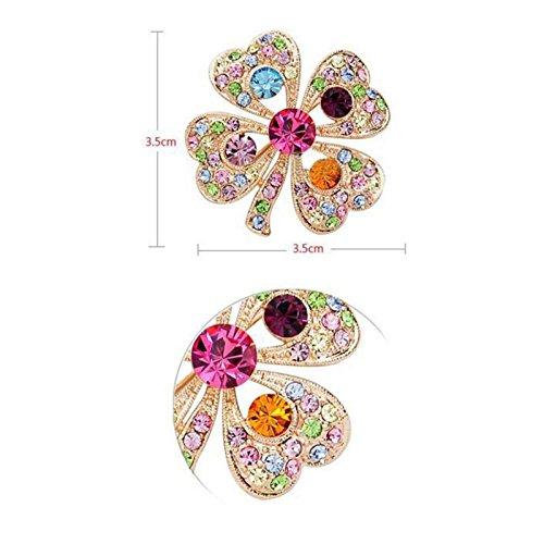 Fasherati Multicoloured Crystal Studded Cloverleaf Brooch for Girls