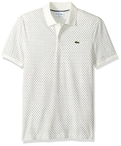 (Lacoste Men's Short Sleeve Slim Fit AOP Micro Pattern, Flour/Navy Blue XX-Large)