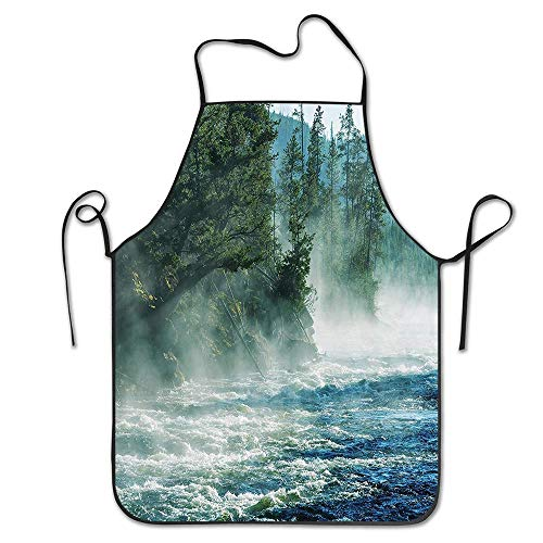 PoppyAnthony Yellowstone Fog on Yellowstone River Alpine Trees The Bank Wilderness Waterscape Picture Green Blue Cooking Apron Personalized Chef Apron for Women Men Kitchen Bib Apron -