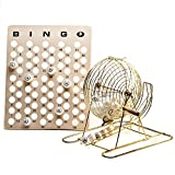Official Professional-Use Large Brass Plated Bingo Cage Set w/Ping Pong Bingo Balls, 15 3/4'' High by Mr. Chips, Inc