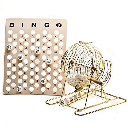 Mr. Chips Official Professional-Use Large Brass Plated Bingo Cage Set w/Ping Pong Bingo Balls, 15 3/4