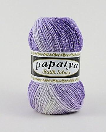 Wolle1000 Papatya Batik Silver 100g Wollegarn Zum Häkeln Und