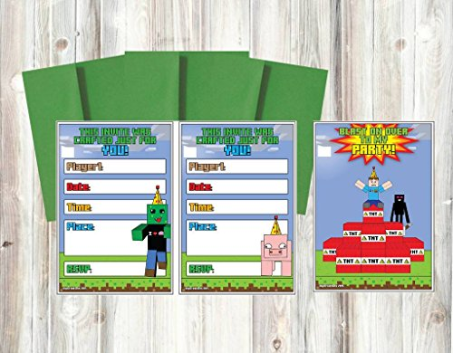 Party Supplies for Your Favorite Pixel Video Games - Minecraft Party Invitations Cards