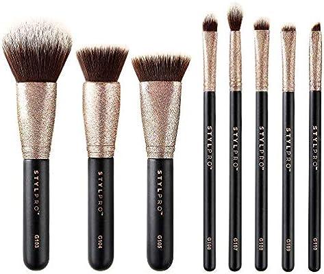 Set de 8 brochas de maquillaje con purpurina STYLPRO Glitter – Alta calidad, sintéticos, brochas veganas, asequible, set completo para todo el rostro.: Amazon.es: Salud y cuidado personal