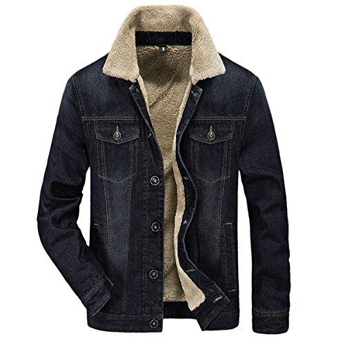 Pishon Men's Denim Jean Jacket Button Front Slim Fit Sherpa Lined Trucker Jacket, Black, Tag Size XXXL=US Size M