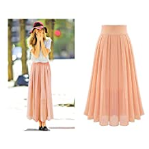 Women's Stretch Waist Pleated Maxi Chiffon Long Skirt Flowy Half Dress